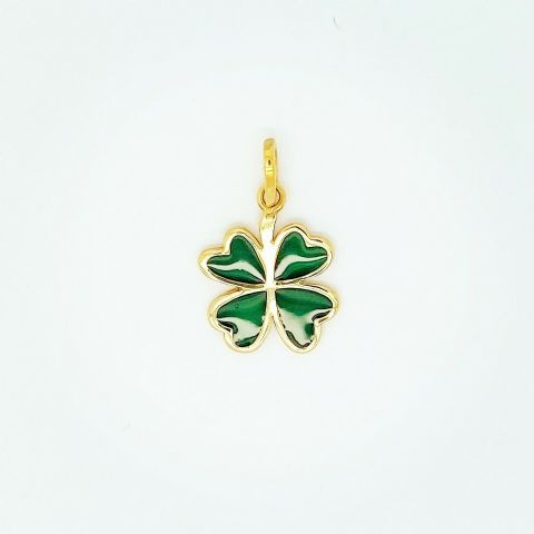 Genuine 9ct Yellow Gold and Enamel Lucky Four Leaf Clover Charm / Pendant